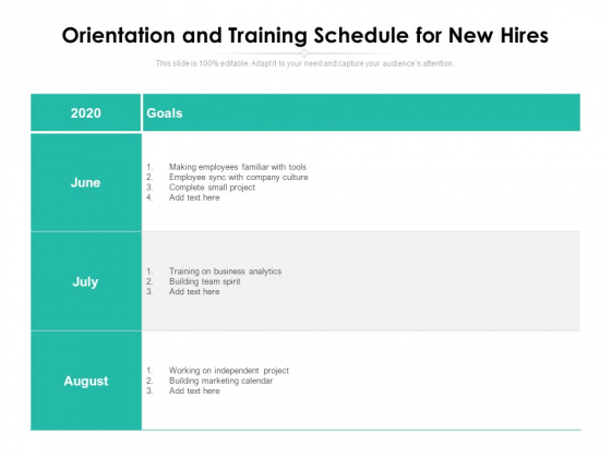 Orientation And Training Schedule For New Hires Ppt PowerPoint Presentation Visual Aids Portfolio PDF