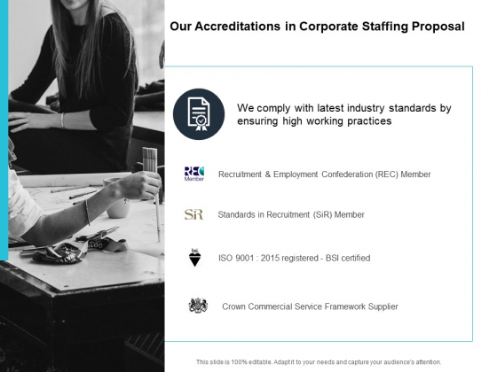 Our Accreditations In Corporate Staffing Proposal Ppt PowerPoint Presentation Inspiration Slideshow