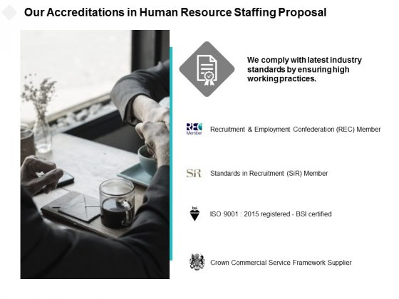 Our Accreditations In Human Resource Staffing Proposal Ppt PowerPoint Presentation Pictures Files