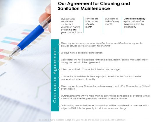 Our Agreement For Cleaning And Sanitation Maintenance Agenda Ppt PowerPoint Presentation Layouts Show
