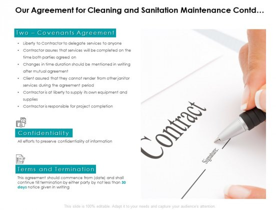Our Agreement For Cleaning And Sanitation Maintenance Contd Ppt PowerPoint Presentation Pictures Smartart