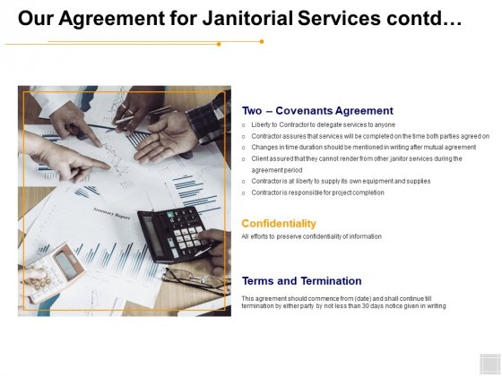 Our Agreement For Janitorial Services Contd Ppt PowerPoint Presentation Pictures Template