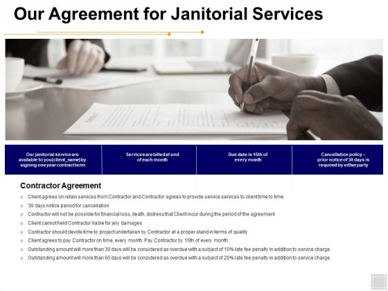 Our Agreement For Janitorial Services Ppt PowerPoint Presentation Professional Graphics Design