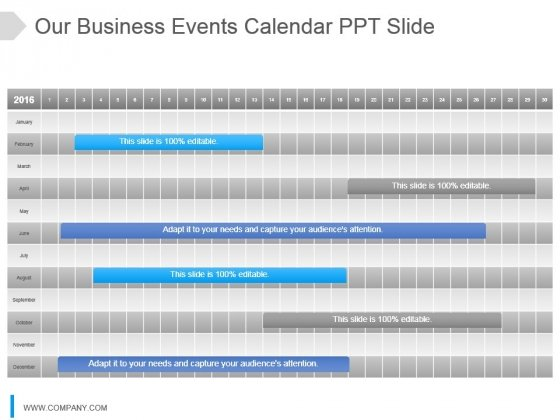 Our Business Events Calendar Ppt Slide
