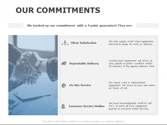 Our Commitments Service Ppt PowerPoint Presentation Pictures Example Introduction