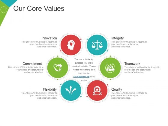 Our Core Values Template 2 Ppt PowerPoint Presentation Icon Design Ideas