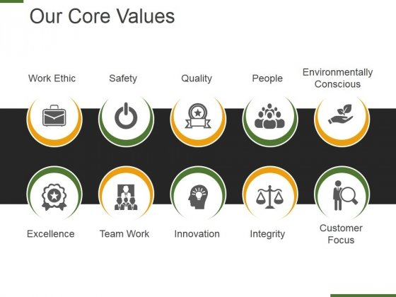 Our Core Values Template 2 Ppt PowerPoint Presentation Portfolio Summary