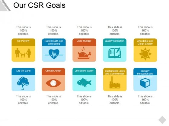 Our Csr Goals Ppt PowerPoint Presentation Gallery Master Slide