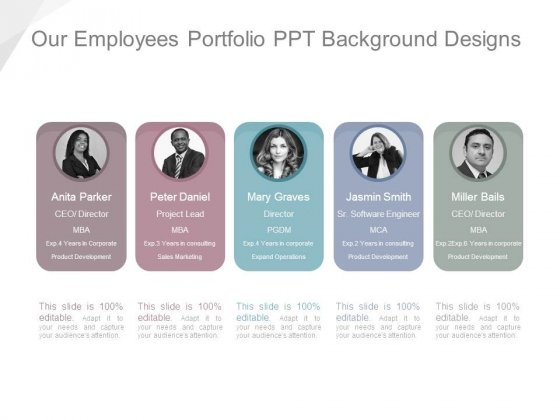 Our Employees Portfolio Ppt Background Designs