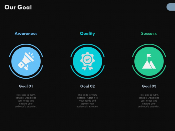 Our Goal With Icons Ppt PowerPoint Presentation Infographics Influencers