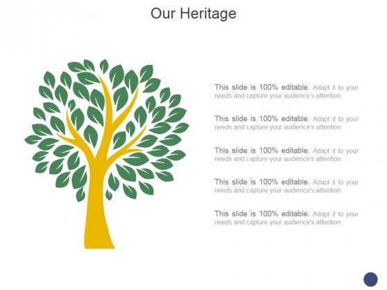Our Heritage Template 2 Ppt PowerPoint Presentation Inspiration Backgrounds