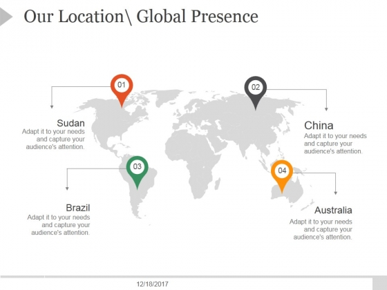 Our Location Global Presence Ppt PowerPoint Presentation Designs Download