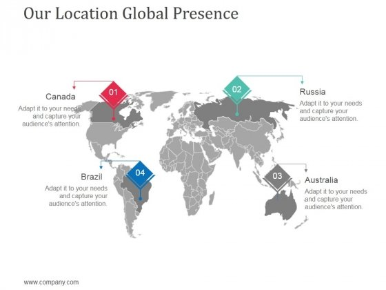 Our Location Global Presence Ppt Powerpoint Presentation Show Inspiration