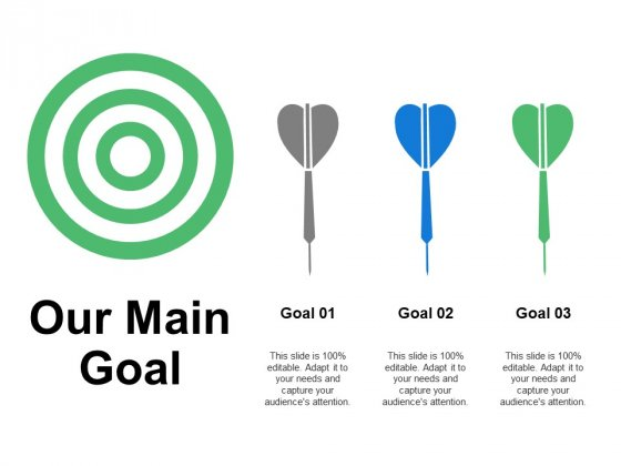 Our Main Goal Arrows Ppt PowerPoint Presentation Inspiration Elements