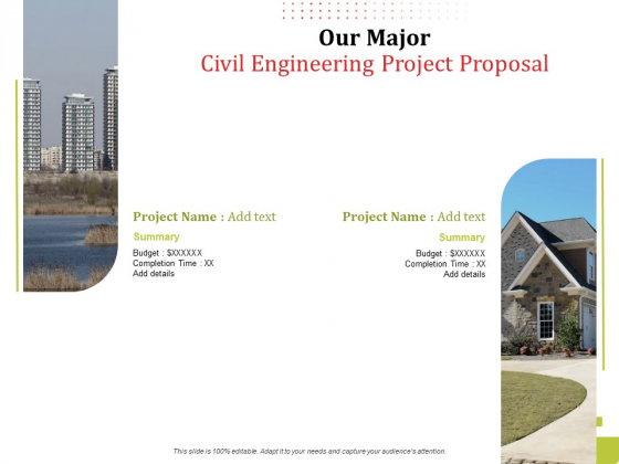 Our Major Civil Engineering Project Proposal Ppt Professional Template PDF