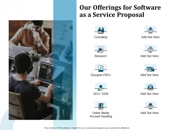 Our Offerings For Software As A Service Proposal Ppt File Templates PDF