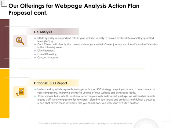 Our Offerings For Webpage Analysis Action Plan Proposal Cont Ppt PowerPoint Presentation Summary PDF