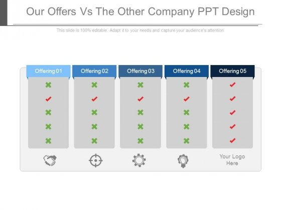 Our Offers Vs The Other Company Ppt Design