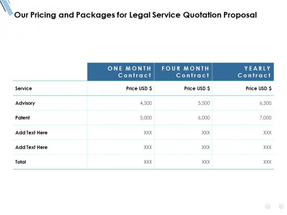Our Pricing And Packages For Legal Service Quotation Proposal Ppt PowerPoint Presentation Pictures Brochure