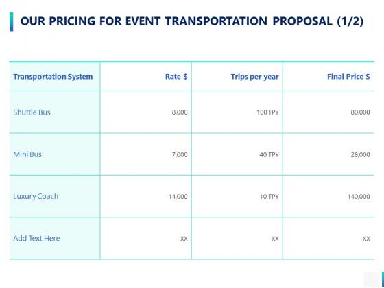 Our Pricing For Event Transportation Proposal Strategy Ppt PowerPoint Presentation Portfolio Portrait