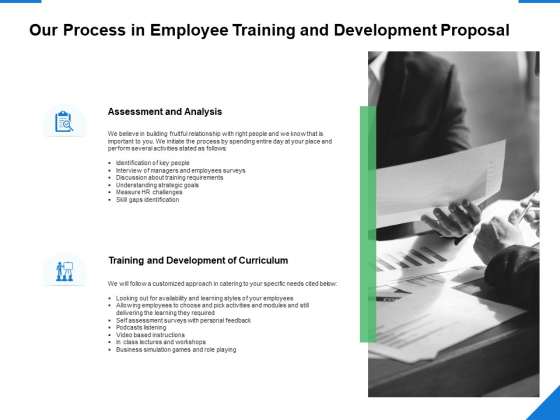 Our Process In Employee Training And Development Proposal Ppt PowerPoint Presentation Model Icon