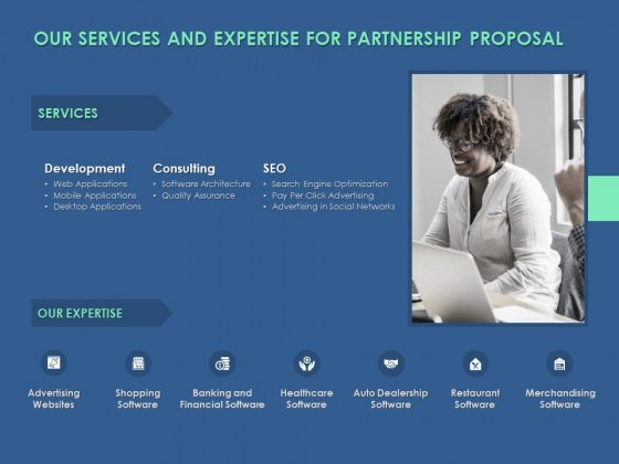 Our Services And Expertise For Partnership Proposal Ppt PowerPoint Presentation Pictures Brochure