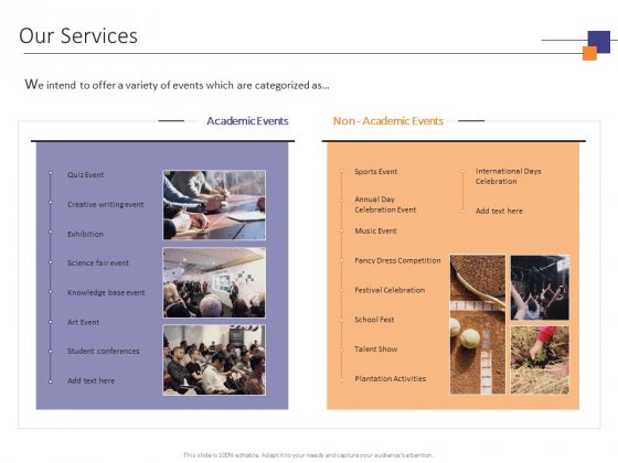 Our Services Celebration Ppt PowerPoint Presentation Show Example Topics