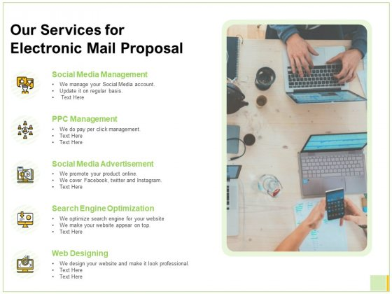 Our Services For Electronic Mail Proposal Ppt Slides Graphics PDF