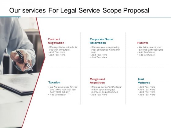 Our Services For Legal Service Scope Proposal Ppt PowerPoint Presentation Pictures Summary