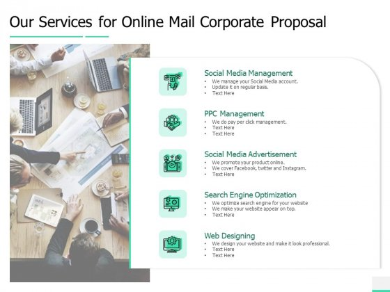 Our Services For Online Mail Corporate Proposal Ppt Ideas Rules PDF