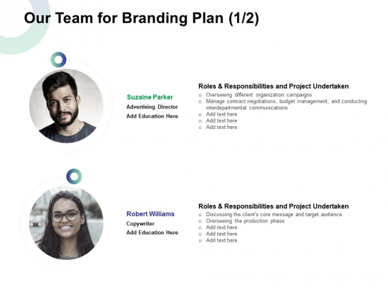 Our Team For Branding Plan Ppt Ideas Graphic Tips PDF