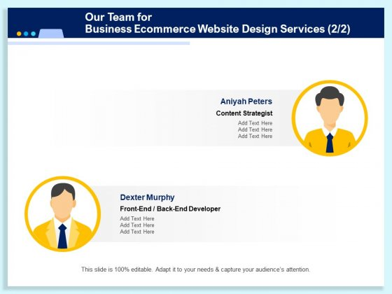 Our Team For Business Ecommerce Website Design Services Management Ppt PowerPoint Presentation Inspiration Guidelines PDF