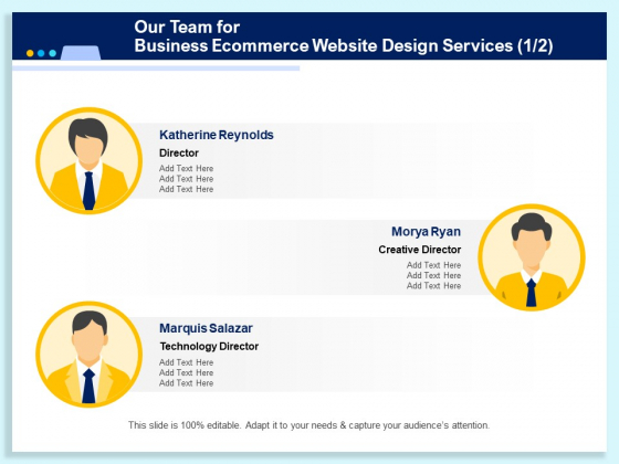 Our Team For Business Ecommerce Website Design Services Technology Ppt PowerPoint Presentation Outline Example PDF