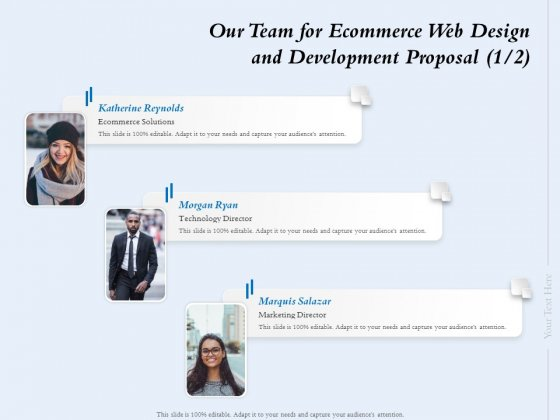 Our Team For Ecommerce Web Design And Development Proposal Ppt Professional Display PDF