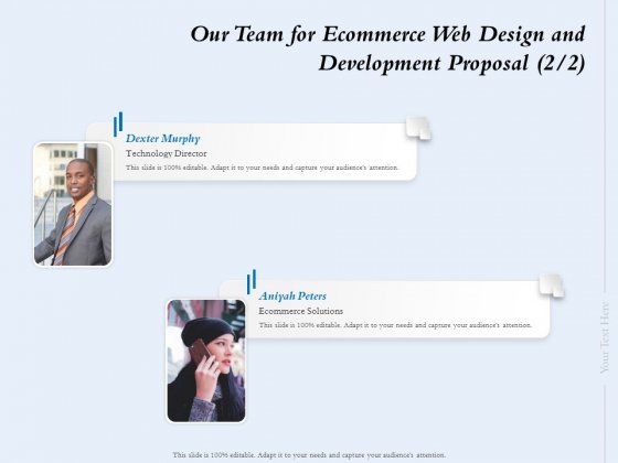Our Team For Ecommerce Web Design And Development Proposal Strategy Ppt Infographic Template Portrait PDF