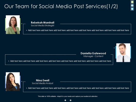 Our Team For Social Media Post Services Communication Ppt PowerPoint Presentation Diagram Graph Charts