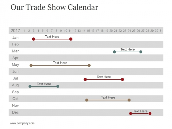 Our Trade Show Calendar Ppt PowerPoint Presentation Gallery Graphics Tutorials