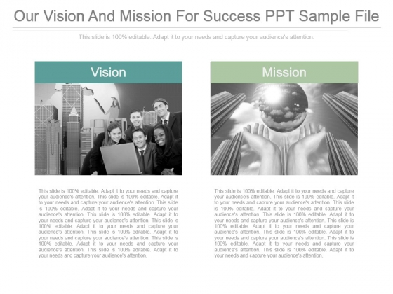 Our Vision And Mission For Success Ppt Sample File