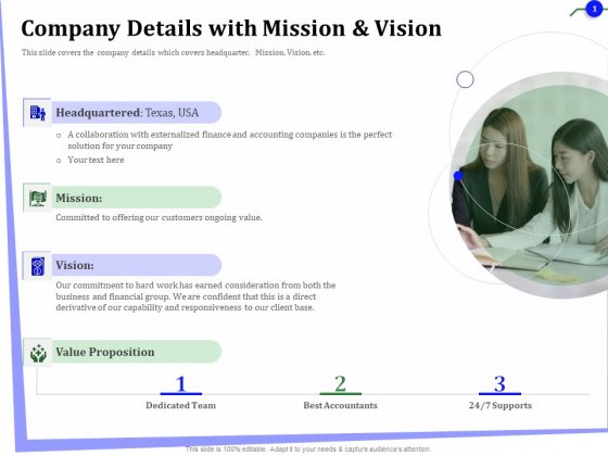 Outsourcing Of Finance And Accounting Processes Company Details With Mission And Vision Brochure PDF