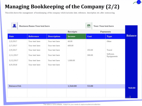 Outsourcing Of Finance And Accounting Processes Managing Bookkeeping Of The Company Ideas PDF