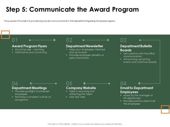 Outstanding Employee Step 5 Communicate The Award Program Topics PDF