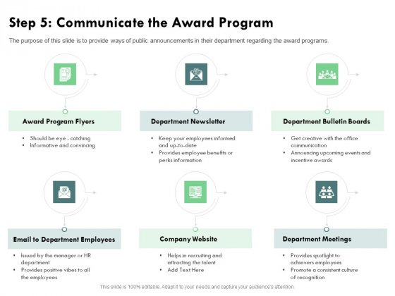 Outstanding Performer Workplace Step 5 Communicate The Award Program Elements PDF