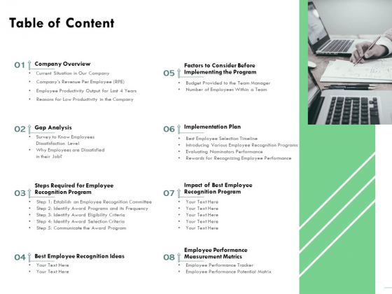 Outstanding Performer Workplace Table Of Content Ppt Professional Designs Download PDF