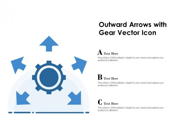 Outward Arrows With Gear Vector Icon Ppt PowerPoint Presentation Portfolio Pictures