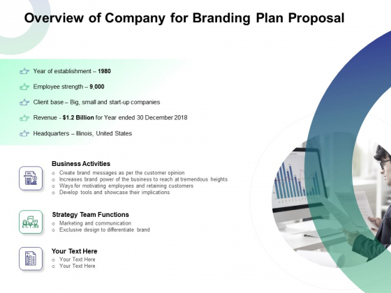 Overview Of Company For Branding Plan Proposal Ppt Styles Information PDF
