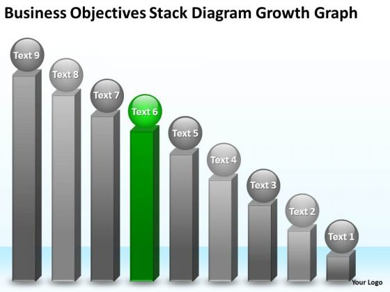 Objectives Stack Diagram Growth Graph 9 Stages Business Plan Definition PowerPoint Templates
