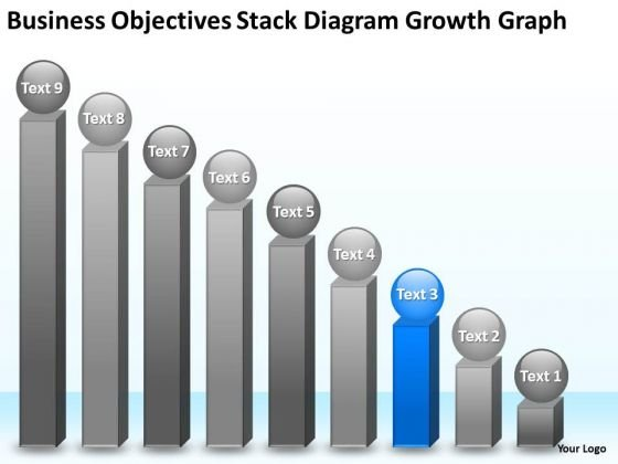 Objectives Stack Diagram Growth Graph 9 Stages Cheap Business Plan Writers PowerPoint Slides