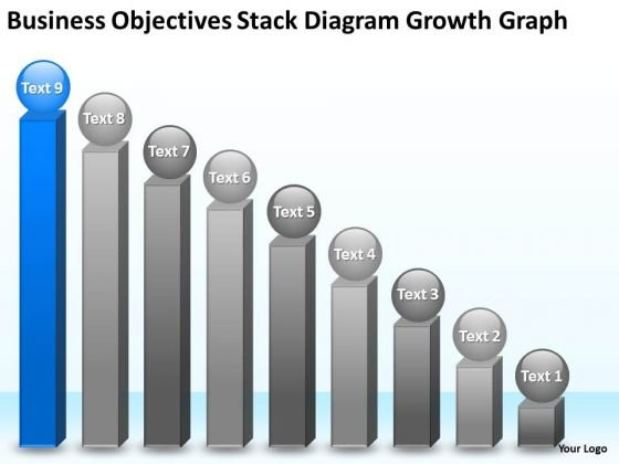 Objectives Stack Diagram Growth Graph 9 Stages Ppt Business Plan Creator PowerPoint Slides