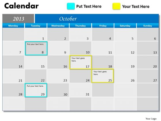 October 2013 Calendar PowerPoint Slides Ppt Templates