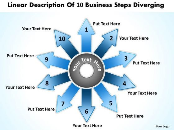 Of 6 Key Steps Marketing Diverging Processes Circular Layout Diagram PowerPoint Templates